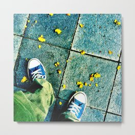 Blue Chucks and Yellow petals Metal Print