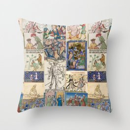 People Getting Stabbed in Medieval Manuscripts Throw Pillow