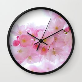 Closeup of a Blossoming Japanese Cherry Tree Wall Clock