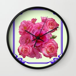 RED & PINK  ART NOUVEAU ROSES Wall Clock