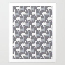 Gray Pink and White Llama Silhouette Seamless Art Print