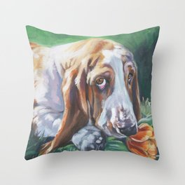 Beautiful Basset Hound dog portrait art an original painting by L.A.Shepard Throw Pillow