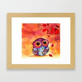 Owl's First Fall Leaf Framed Art Print