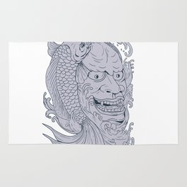 Hannya Mask and Koi Fish Drawing Rug