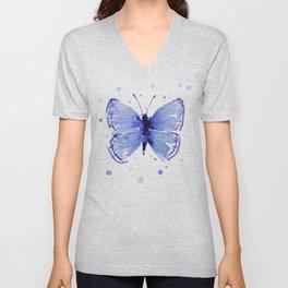 Dark Blue Butterfly Watercolor Unisex V-Neck