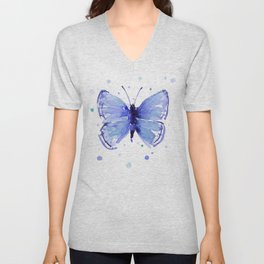 Dark Blue Butterfly Watercolor Unisex V-Neck
