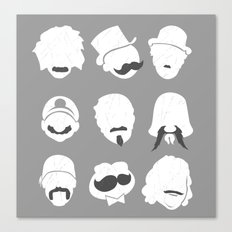 Famous Moustaches grey Canvas Print