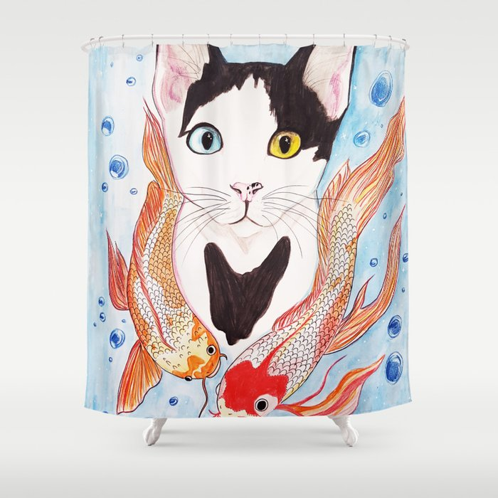 Cat And Koi Shower Curtain By Mariarchie