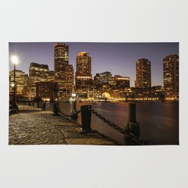 The Lights of Boston pier Rug