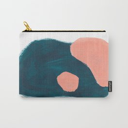 Minimalist Abstract Colorful Mid Century Modern Art Painting Teal Blue Salmon Pink Blobs Carry-All Pouch