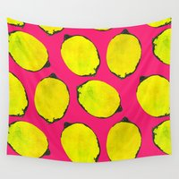 lemon Wall Tapestries featuring Lemon pattern by Georgiana Paraschiv