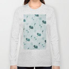 Turquoise flower pattern Long Sleeve T-shirt