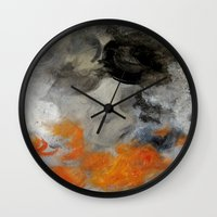 imagerybydianna Wall Clocks featuring empty hurricane fires by Imagery by dianna