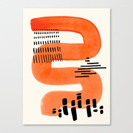 Mid Century Modern abstract Minimalist Fun Colorful Shapes Patterns Orange Watercolor Wiggle Stroke Canvas Print