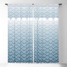 Ocean Japanese Wave Pattern, transparent background Blackout Curtain