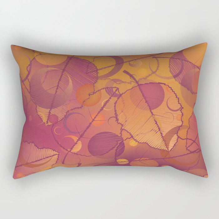 Floating Leaves Pattern III - Autumn, Pink Violet Rectangular Pillow