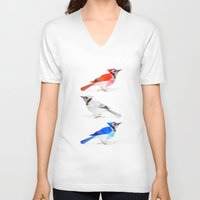 jay fleck V-neck T-shirts featuring Red jay, white jay, blue jay. by The animals moved to - society6.com/dian