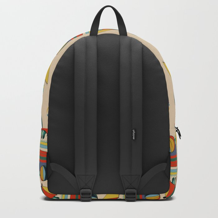 cat at the beach cream Backpack
