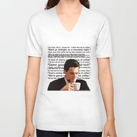 dale cooper V-neck T-shirts featuring Agent Cooper - coffee quotes  by Alessandro Paradossi