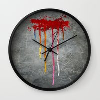 reservoir dogs Wall Clocks featuring Reservoir Dogs Blood Drip by Van Hog Trio