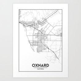 Minimal City Maps - Map Of Oxnard, California, United States Art Print