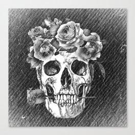 FLOWERS SKULL Canvas Print