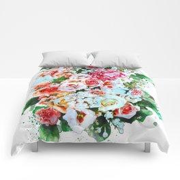 Rose Flower Bouquet Watercolor Comforters