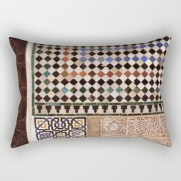 Details in The Alhambra Palace. Gold courtyard Rectangular Pillow