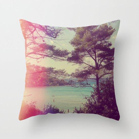 French Beach Throw Pillow