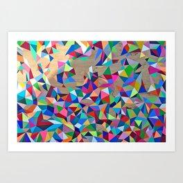 Geometric Rainbow Cluster on Wood Art Print