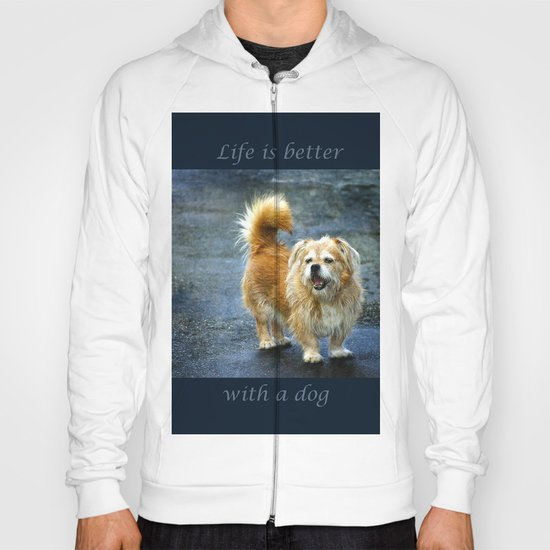 Small dog on the street Hoody