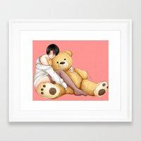 teddy bear Framed Art Prints featuring Teddy by Sir-Snellby