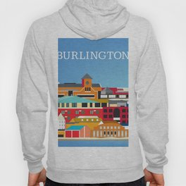 Burlington, Vermont - Skyline Illustration by Loose Petals Hoody