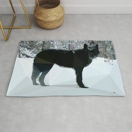 Gray Wolf Low Poly Nature Art Rug