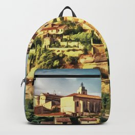 Gordes Hilltop Village painting, French historic town scenery, Provence France nature, travel art po Backpack