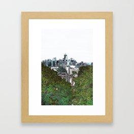 Seattle skyline edges (light, green) Framed Art Print