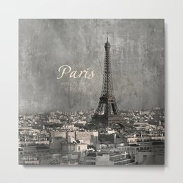 I love Paris {bw Metal Print