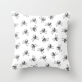 Vintage Pirate Skull and Crossbones on White Throw Pillow