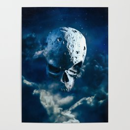 Reaper Moon Rising / 3D render of cratered skull moon in night sky Poster