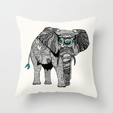Tribal Elephant Black and White Version Throw Pillow