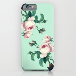 Roses Mint Green + Pink iPhone Case