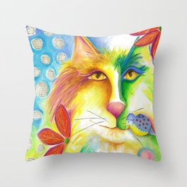 Cat abstract bird Original Painting Deb Harvey art Fevrier Chat  Throw Pillow