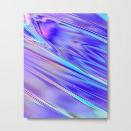 Chrome cool pattern blue purple silver Metal Print