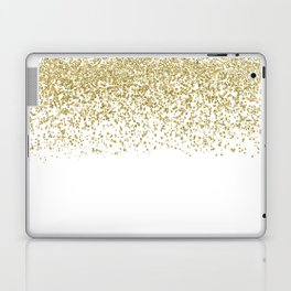 Sparkling gold glitter confetti on simple white background - Pattern Laptop & iPad Skin