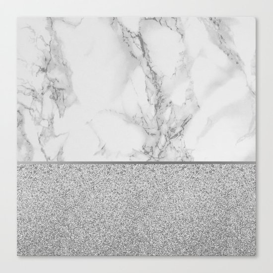 Marble + Glitter #1 Canvas Print