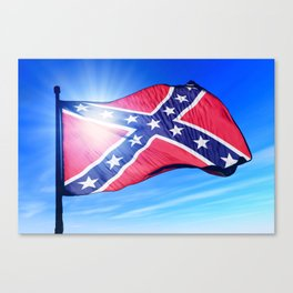 Confederate flag waving on the wind Canvas Print