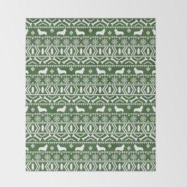Corgi fair isle silhouette christmas sweater dog gifts corgis welsh corgi dog Throw Blanket
