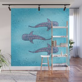 Whale Shark - pink and blue Wall Mural