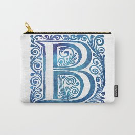Letter B Antique Floral Letterpress Monogram Carry-All Pouch