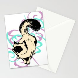 Cat Illustration in Colors Stationery Cards